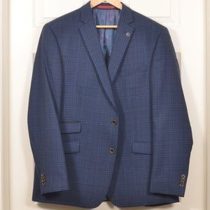 NWOT 46R Ted Baker Single Breasted Blue Plaid Coat